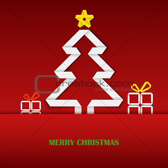 Christmas card with folded white paper tree template