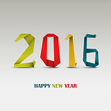New Year card with folded colored paper template