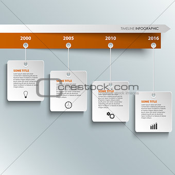 Time line info graphic with hanging white labels template
