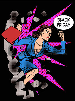 Black Friday woman buyer runs on sale