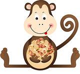 Monkey Eating Peanuts