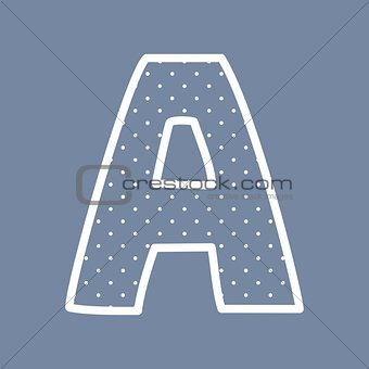 A vector alphabet letter with white polka dots on blue background