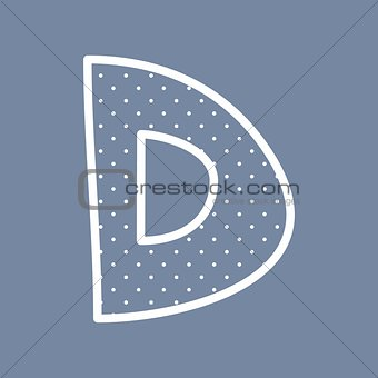 D vector alphabet letter with white polka dots on blue background