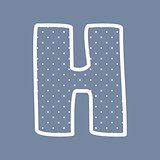 H vector alphabet letter with white polka dots on blue background
