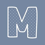 M vector alphabet letter with white polka dots on blue background