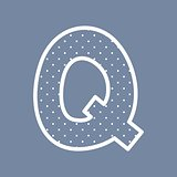 Q vector alphabet letter with white polka dots on blue background