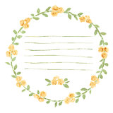 Vector watercolor round frame with roses and foliage elements. Hand draw floral border