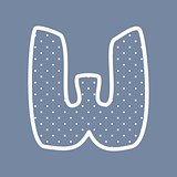 W vector alphabet letter with white polka dots on blue background