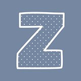 Z vector alphabet letter with white polka dots on blue background