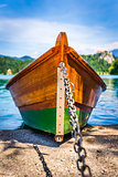 Anchored Wooden Tourist Boat on Shore of Bled Lake, Slovenia