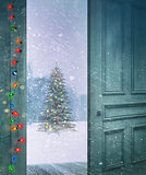 Door opening outside to a snowy winter scene
