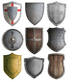 various knight shields set isolated