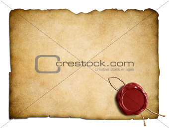 Old parchment paper or letter with red wax seal isolated