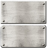 grunge steel metal plates set with rivets isolated