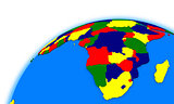 south Africa on globe political map