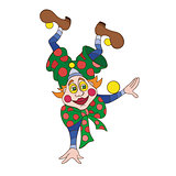 Funny clown character vector illustration.