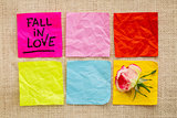 fall in love reminder on sticky notes
