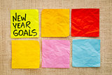 New Year goals on sticky notes