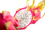 Three dragon fruits, selective focus on middle one
