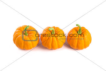 Small orange pumpkins, top view
