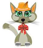 Cat in hat and with bow