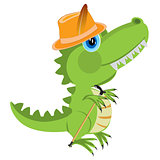 Cartoon of the dinosaur in hat