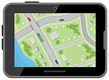 Map with driving directions. Top view. Black digital tablet. Car Navigation