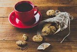 cup of coffee and oatmeal cookies. background. toning