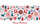Christmas banner, vector seamless pattern