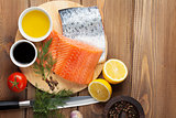 Salmon, spices and condiments