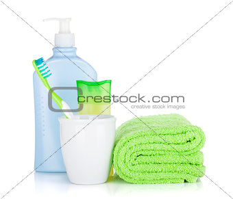 Toothbrush, cosmetics bottles and towel