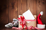 Christmas gift box and santa hat