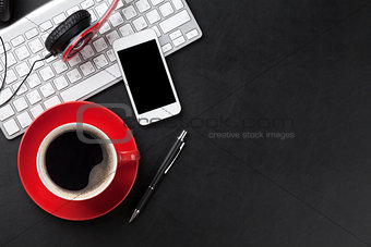 Office leather desk with pc and coffee cup