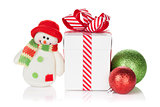 Christmas gift box, baubles and snowman toy