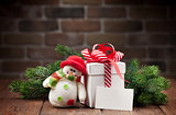 Christmas gift box, snowman and greeting card