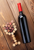 Red wine bottle and glass shaped corks
