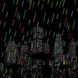 Rain in the City Vector Background