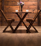 Romantic atmosphere in wooden cafe