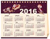 2016 calendar. Desk calendar