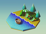 Isometric camping on the beach