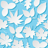 Seamless background with paper leaves. Vector illustration.