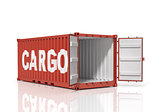 Open shipping container. Cargo.