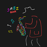 Neon Sign Saxophone Jazz