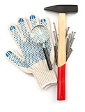Gloves with hammer and loupe