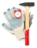 Gloves with hammer and alarm clock