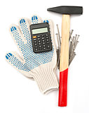 Gloves with hammer and calculator