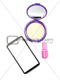 Smartphone with cosmetics on white