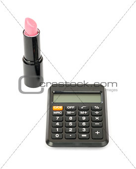Calculator with lipstick
