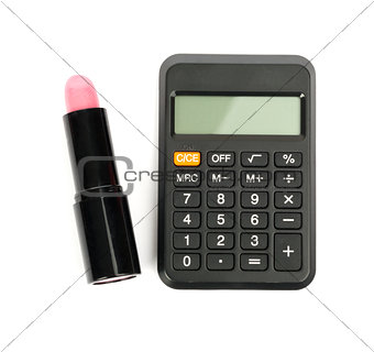 Calculator with lipstick, top view