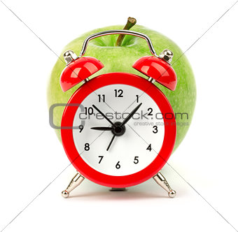 Alarm clock with apple